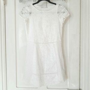 Zara White Patchwork Eyelet Short Sleeve Dress